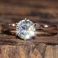 Queen brilliance 1 carat ct f color de compromiso del laboratorio Grown Anillo Diamante Moissanite Sólido 14 K 585 de Oro Rosa Para mujeres