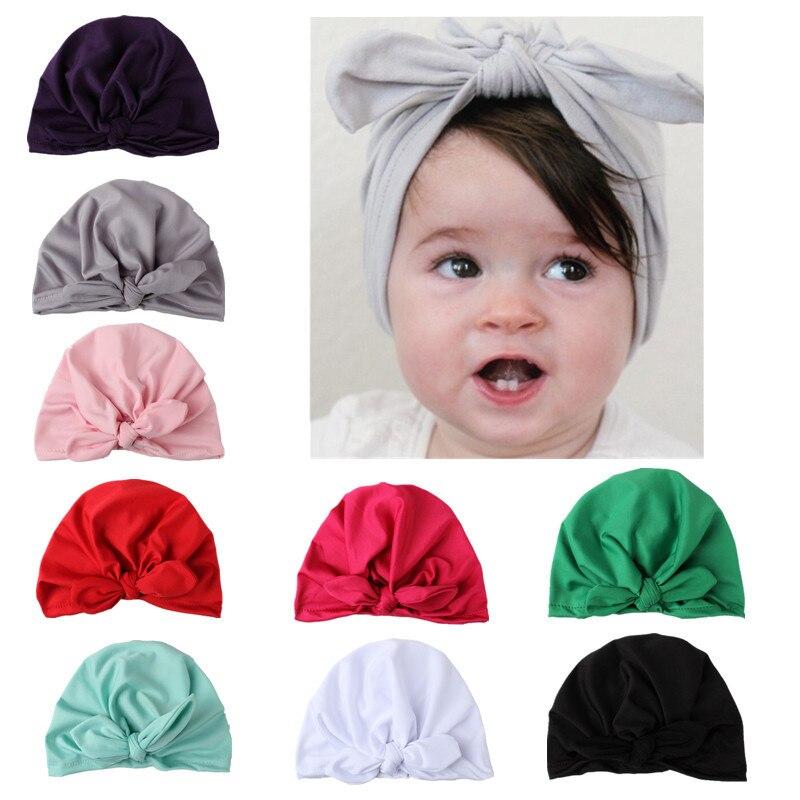 63306bc95c09 Baby Cap Summer Toddler Kids Baby Cotton Soft Turban Knot Hat Rabbit ...