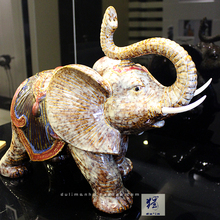 Ceramic Indigenous Elephant Home Decor Crafts Room Decoration Handicraft Ornament Porcelain Animal Figurines Decorations