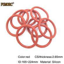 ID 165 170 175 180 185 190 195 200 206 212 215 218 224mm * 2.65mm Dikte rode siliconen o-ringen geen gif Food Grade Seals pakking(China)