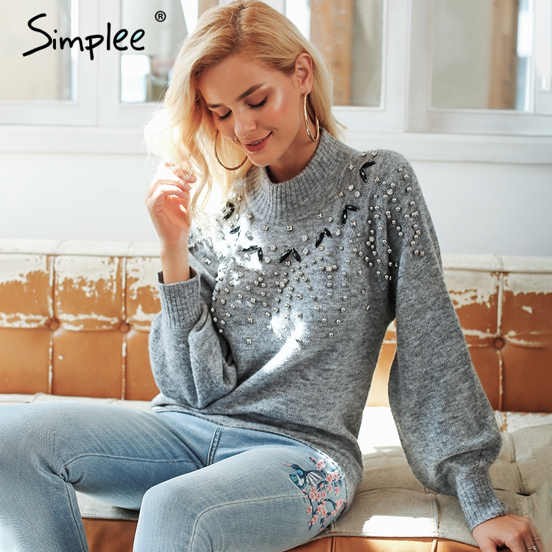 Simplee Turtleneck Knitted Grey Sweater S18ST0022