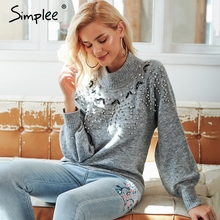 Simplee Turtleneck winter knitted streetwear sweater Women lantern sleeve gray pullover female Sexy fashion autumn casual jumper