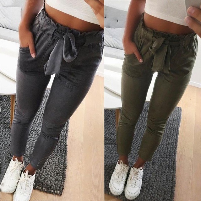 Summer Women Pants Suede High Waist Tie Pockets Lady Girl Casual Trousers FS99