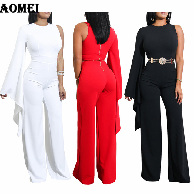 28f51c3635 Women White Jumpsuit Romper One Shoulder Overalls Officewear Combinaison Fashion  Female Wear Jumpsuits For Elegant Lady
