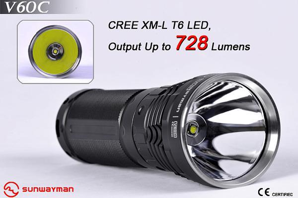 Sunwayman V60C Cree XM-L T6 LED 728 lums Waterproof Magnetic Control Flashlight Torch Free shipping 3800 lumens cree xm l t6 5 modes led tactical flashlight torch waterproof lamp torch hunting flash light lantern for camping z93