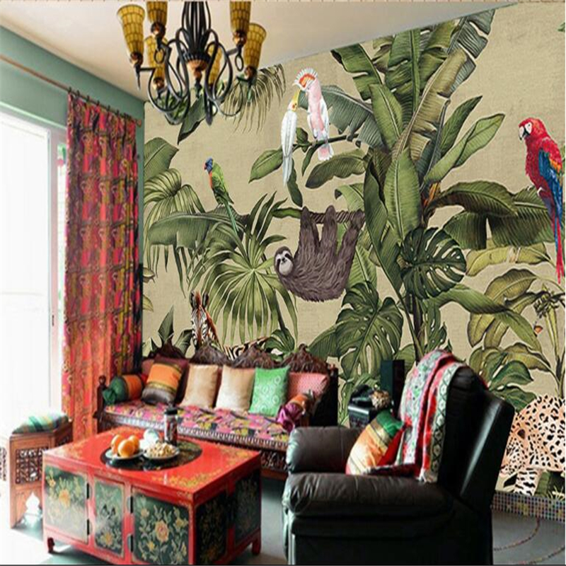 beibehang Large wallpapers Fresco Retro Tropical Rainforest Animals Palm Leaves Living Room TV Background Walls beibehang large custom wallpapers fresco