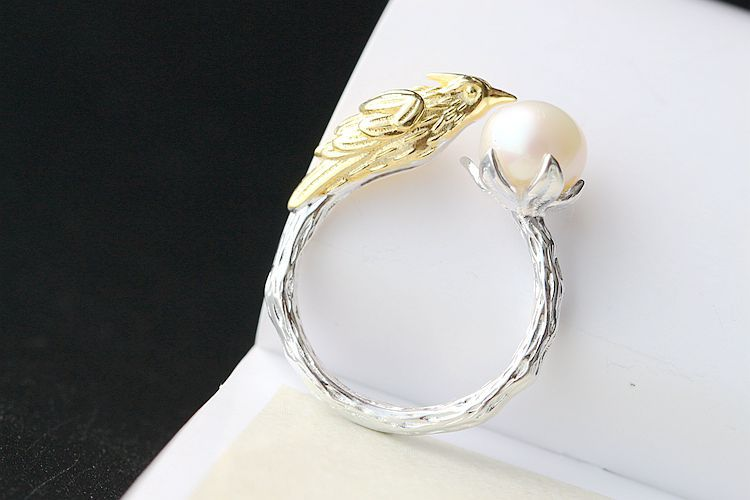 Wholesale S925 sterling silver inlaid pearl ring opening unique female explosion of freshwater pearls