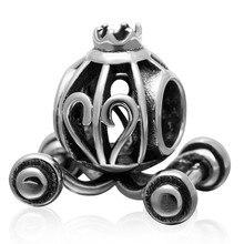 Authertic 925 joyas de plata de Calabaza coche Princesa charms Adapta pandora pulseras del encanto DIY perlas Retro envío gratis
