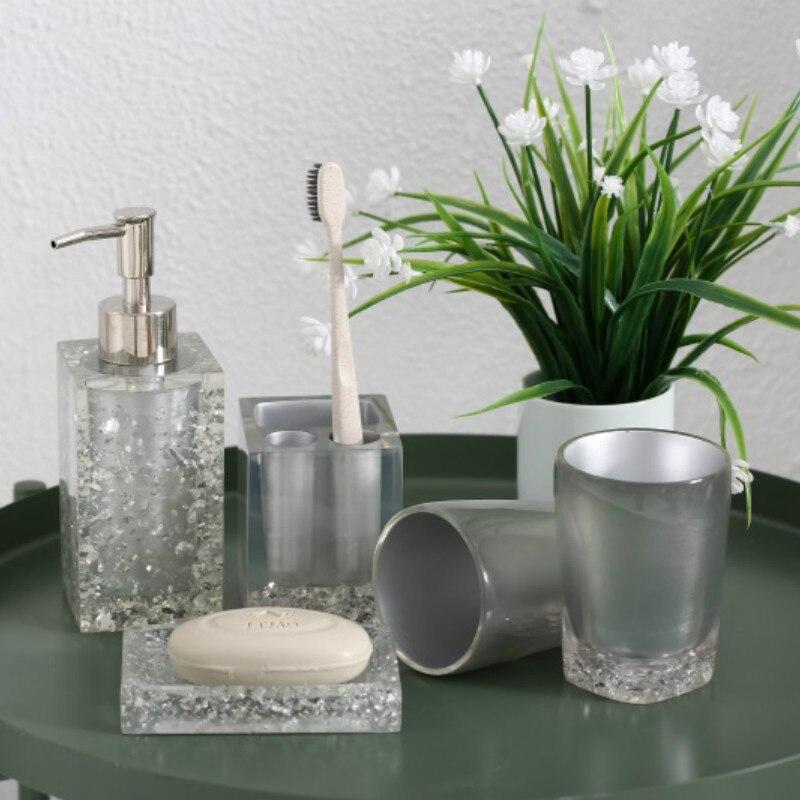 5 sztuk akcesoria łazienkowe zestaw kryształ lodu kwiat przezroczyste akrylowe mydelniczka dozownik szczoteczka do zębów uchwyt zestaw do mycia w Zestawy akcesoriów łazienkowych od Dom i ogród na  Grupa 1