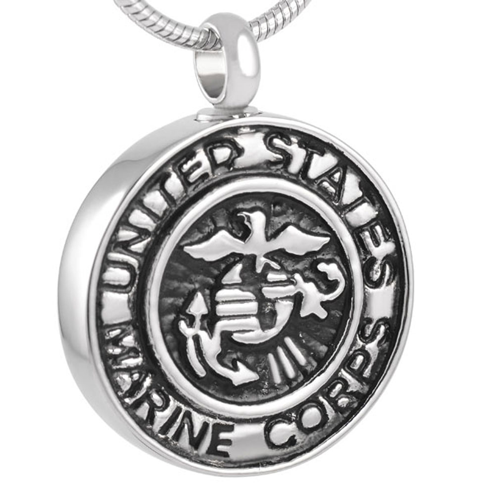 MJD8386 Memorial Jewelry Black Marine Corps Flying Bird Keep Safe Cool Mans Necklace Cre ...