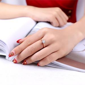 Женское Обручальное кольцо с фианитом Double Fair, 6 когтей, 1 карат, белое/розовое золото, ювелирное изделие, DFR014