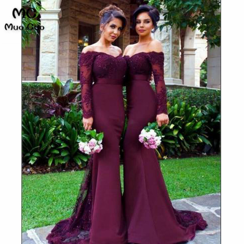 2018 Burgundy Off Shoulder Bridesmaid Dress Long Sleeve Wedding Party Dress Elastic Satin Women Bridesmaid Dresses