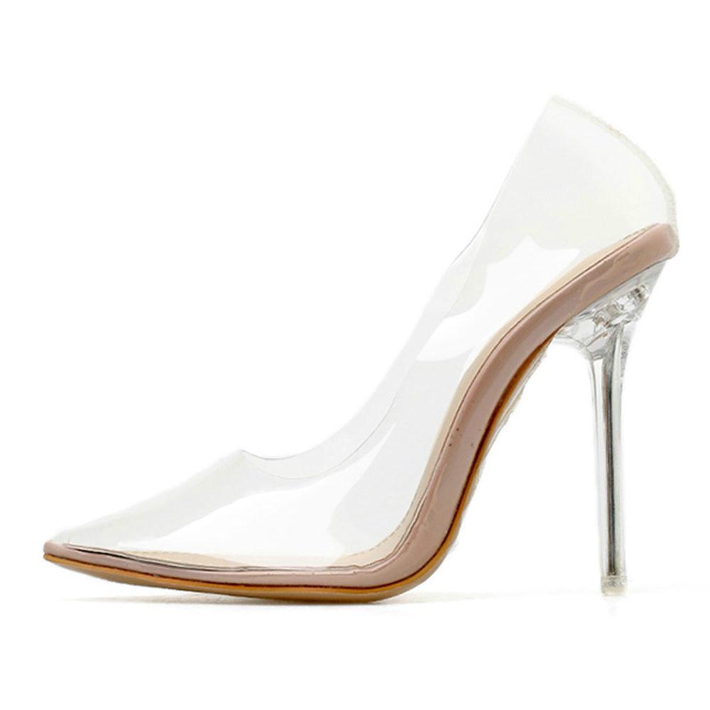 QWEDF clair PVC Transparent pompes sandales Perspex talon talons aiguilles pointe orteils femmes parti chaussures discothèque pompe CR-26