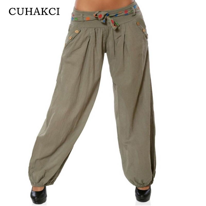 CUHAKCI Fashion   Wide     Leg     Pants   with Belt Ankle-Length Army Green Trousers Women Low Waist Loose   Pants   Casual Big Size   Pants   5XL