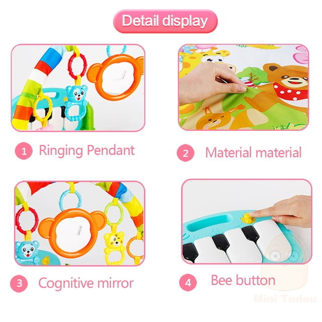 Baby Play Mat Kids Rug Educational Puzzle Carpet With Piano Keyboard And Cute Animal Playmat Baby Gym