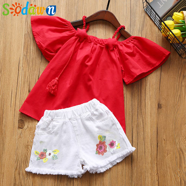Sodawn Girls' Suits Summer 2018 Children's T-shirt + Embroidered Shorts Kids' Wear Two-piece Fashion Kids Set Girls Clothing