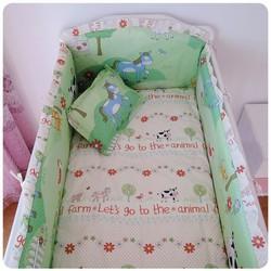 Förderung! 6 STÜCKE baby-bettwäsche-set baby bettwäsche cartoon (stoßfänger + blatt + kissenbezug)