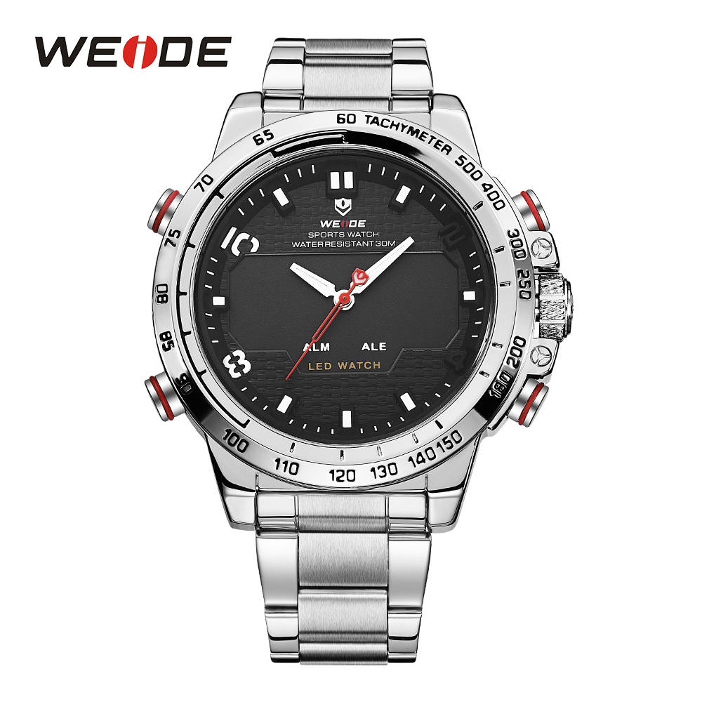 WEIDE Watches Men Sports Quartz LED Display Alarm Military Watch Stainless Steel Strap Band Big Dial Analog Hardlex Wristwatches weide watches men luxury sports lcd digital alarm military watch nylon strap big dial 3atm analog led display men s quartz watch