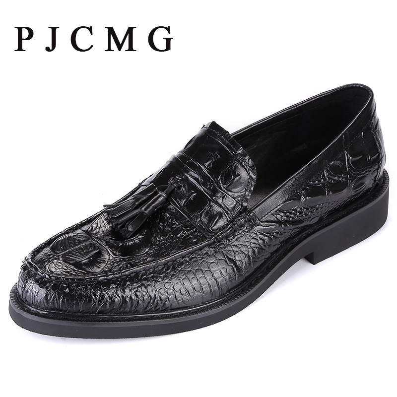 ФОТО PJCMG Fashion Spring/Autumn Crocodile Pattern Slip-On Pointed Toe Formal Genuine Leather Flat Man Dress Shoes With Tassel