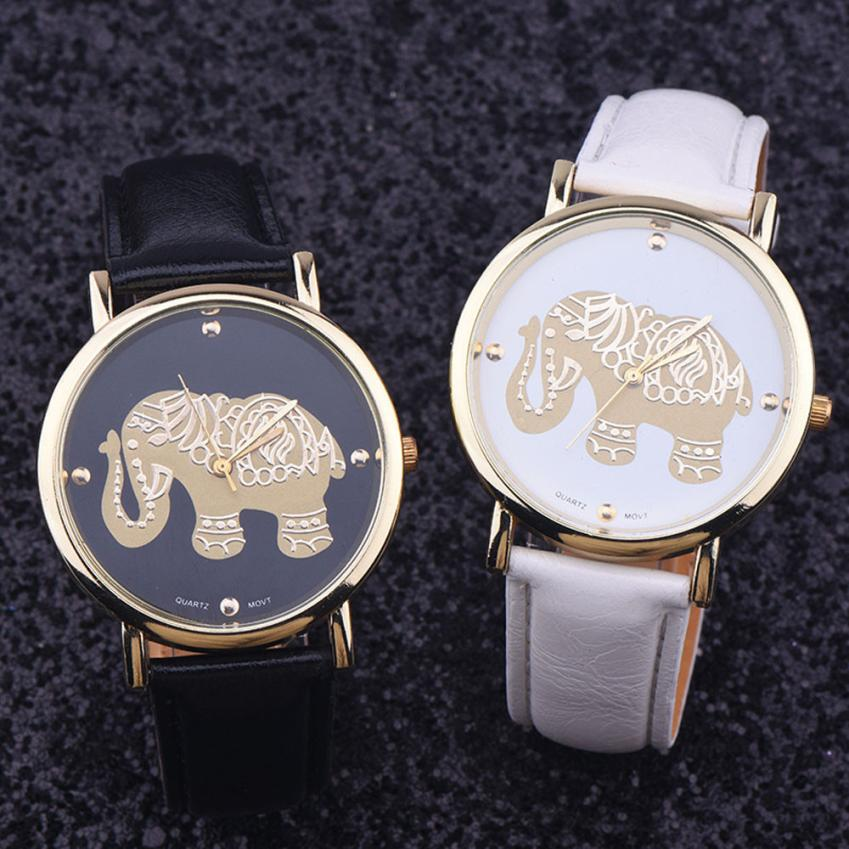 Montre Fashion Elephant Watch Women Luxury Gold Dial Quartz Watches Woman PU Leather Analog Ladies Wrist Watch Relogio Feminino women fashion watches rose gold rhinestone leather strap ladies watch analog quartz wristwatch clocks hour gift relogio feminino