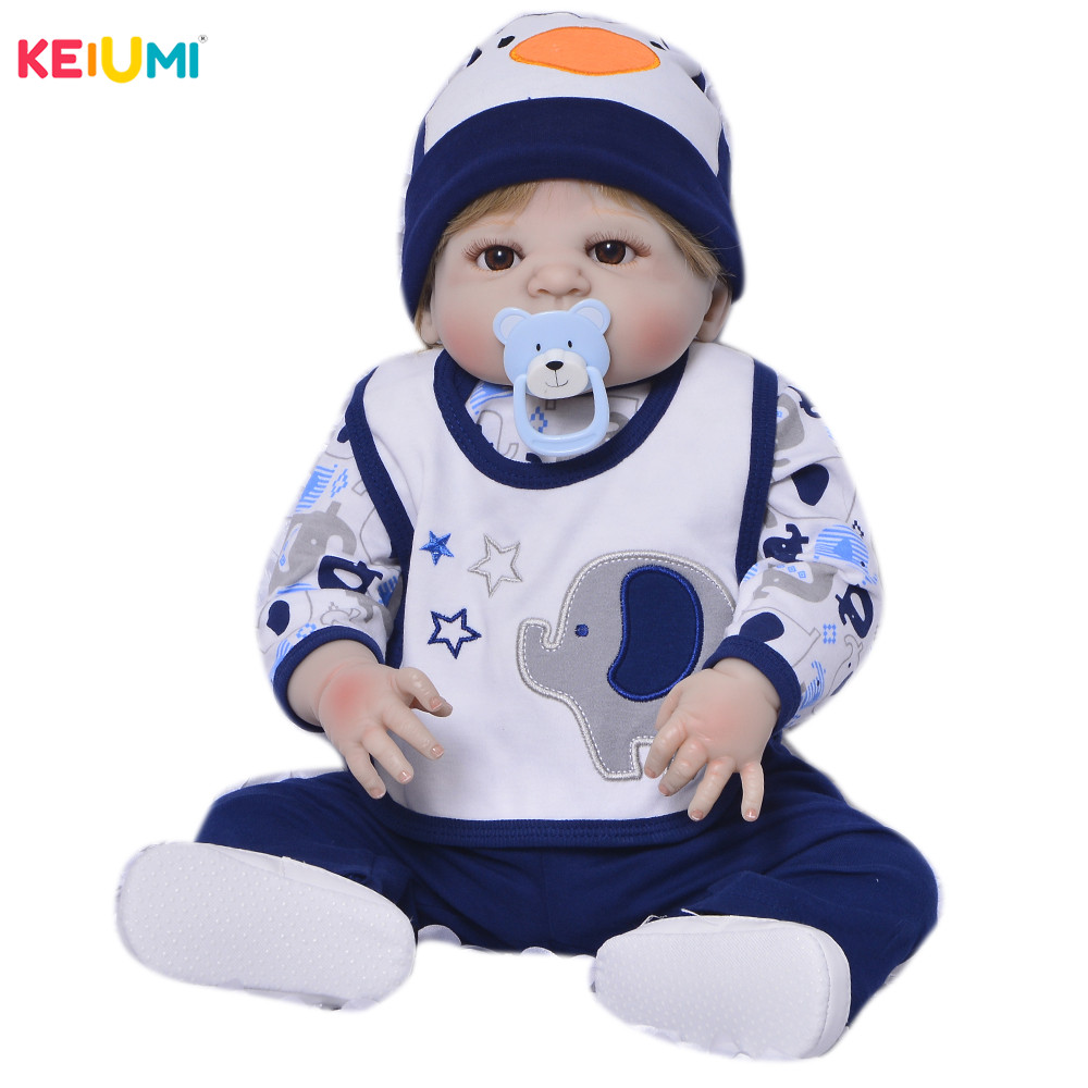 Pasgeboren Pop 23 Inch Full Siliconen Body Reborn Baby Pop Speelgoed Voor Jongen 57 cm Realistische Baby Doll Real Geboren baby Verjaardag Geschenken-in Poppen van Speelgoed & Hobbies op  Groep 1