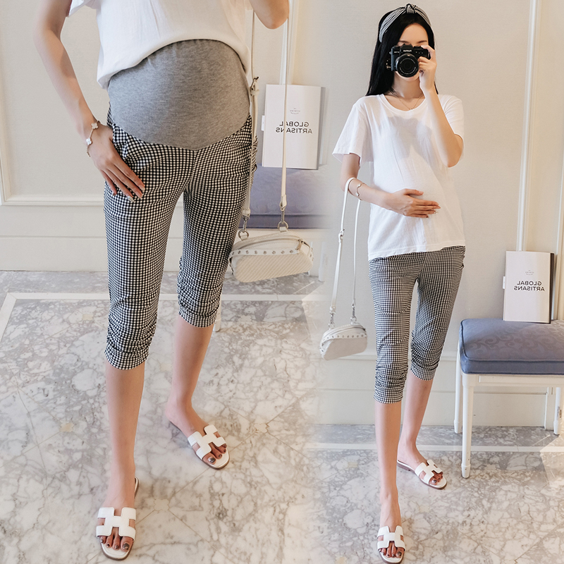 9032# S ~ XXL Thin Small Plaid Cotton Maternity Legging Pants Adjustable Belly Capris for Pregnant Women Summer Casual Pregnancy9032# S ~ XXL Thin Small Plaid Cotton Maternity Legging Pants Adjustable Belly Capris for Pregnant Women Summer Casual Pregnancy