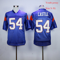 Youth Jersey Blue Mountain State Football Jersey 54 Thad Castle 7 Alex Moran Stitched Movie TV