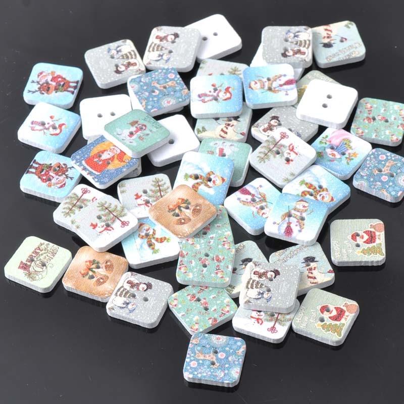 Смешанный Рождество роспись Cube деревянные декоративные Пуговицы 15 мм Скрапбукинг Craft Вышивание поставляет 50 шт. mt0341