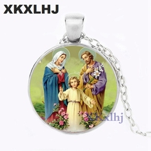 XKXLHJ New Style Blessed Virgin Mary Mother of Baby Necklace Jesus Christian pendant Catholic Religious Glass Jesus Necklace