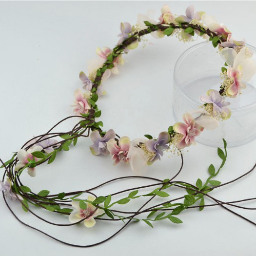 d696a139342 Handmade Fabric Flower Crown Romantic Bridal Hair Accessories Woman Girls  Floral Wreath Party Prom Flower Garland