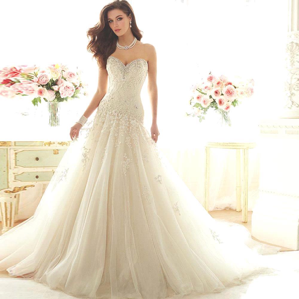 Online Shop Vestido De Noiva Sweetheart Vintage Lace A Line ...