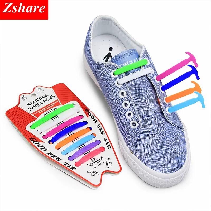16pcs/lot Elastic Silicone Shoelaces No