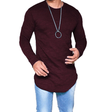 2018 New T Shirt Men Autumn Casual Solid Round Neck Hip Hop Tshirt Fashion Long Sleeve