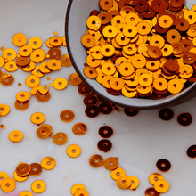 50g(10000pcs) orange color 4mm Flat round loose sequins Paillettes sewing Wedding craft Good quality Free Shipping