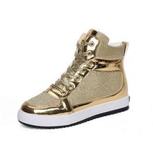 Женщины Повседневная Обувь Глянцевая Золото Серебро Прогулки Обувь Высокого Лучших Тренеров Толщиной Подошве Хип-Хоп Обувь Zapatillas Deportivas XK032205