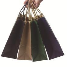Bolsa de regalo de papel kraft con asa, bolsas de la compra, marrón, Navidad, excelente calidad, 21x15x8cm, 50 Uds.