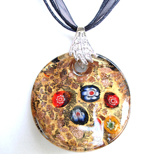 RED SNAKE Mother's Day Gift & Fashion Jewelry Seasonal Party Styles Golden Round Findit Murano Glass Pendant Necklace