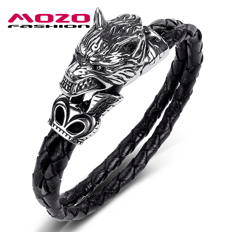 MOZO FASHION 2020 Men Jewelry Black Genuine Leather Bracelet Stainless Steel Punk Ferocious wolf Charm Bracelets Women Gift 543