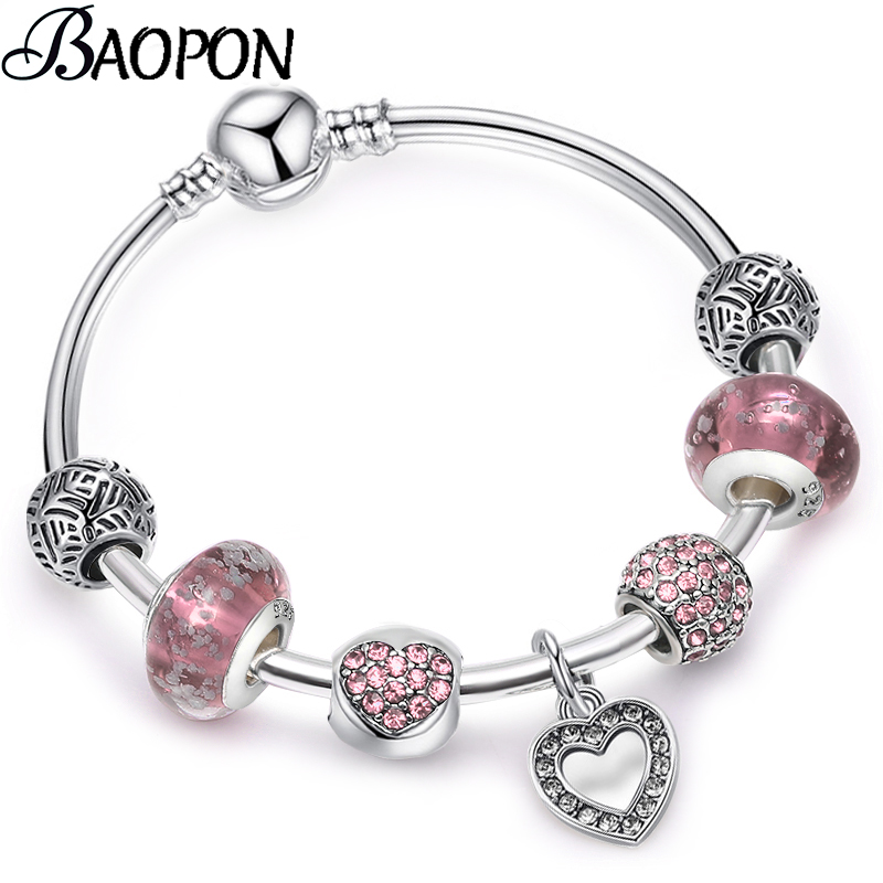 BAOPON New Vintage Silver Plated Love Heart Women Charm Bracelets Blue Crystal Bead  Bracelets & Bangles Jewelry Pu пандора браслет с шармами