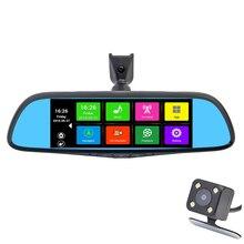 Специальный Автомобильный ВИДЕОРЕГИСТРАТОР Камера 7 «сенсорный Экран Зеркало Заднего Вида GPS Bluetooth 16 ГБ Android 4.4 Dual Объектив FHD 1080 P Видеорегистратор Dashcam