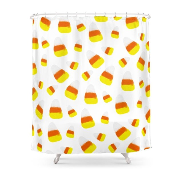 Cute Halloween Candy Corn Orange Yellow Watercolor Pattern Shower Curtain Customized Size
