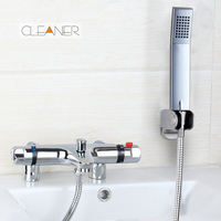 Thermostatic Faucets Chrome Brass Torneira Da Banheira Bathtub Sink New Wall Mounted Thermostatic Mixer Taps Basin