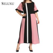 Seluxu 2019 Fashion ummer Plus Size Dress For Women Patchwork Geometric Round Neck Short Sleeve Summer