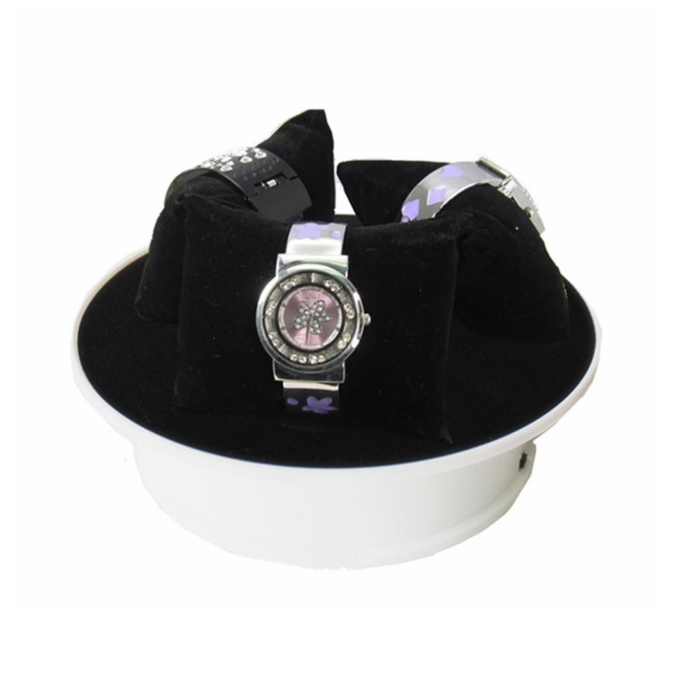 2pieces/lot 20cm White Base Black Velvet Top Motorized 360 Degree Electric Rotating Display Stand Rotary Table