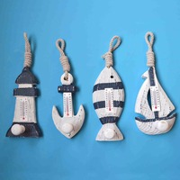4PCS/LOT Mediterranean Style Wood Thermometer Coat Hook Lighthouse Ship Fish Anchor rack Wall Hanger Bathroom Accessories