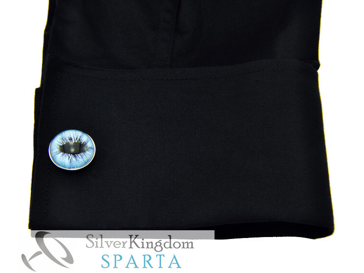 SPARTA Lifelike Ice Dragon Eye White Gold Electroplated cufflinks men's Cuff Links Free Shipping