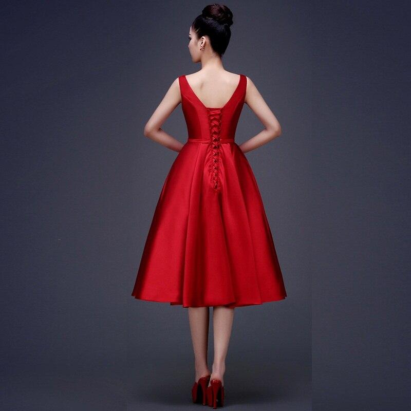 CX SHINE Pasirinktinis spalvos mados arbatinio ilgio V-Neck trumpas - Suknelės vestuvėms - Nuotrauka 2