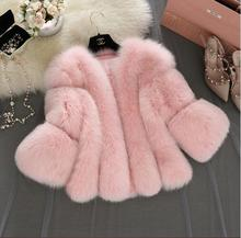 2017 New women pink  faux fur coat   Long Sleeve short outwear Plus Size M 4XL White&Gray&Black Furry Thick Jackets