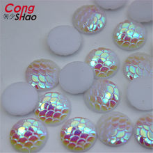 Cong Shao 200PCS 12mm AB round fish scale beads resin rhinestone Flatback  Beads Strass Crystal Stones For Clothes Craft CS43C 371acb01f144