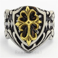 US&Europe Style New Gift  Boy Scouts 316L Stainless Steel Cross Shield  Arabesquitic Ring